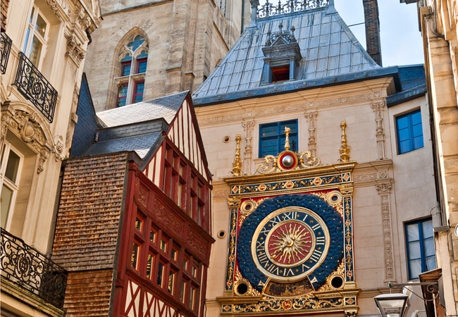 Rouen's half-timbered architecture and Grand Clock Tower