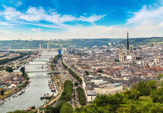 Panoramic view of Rouen and its Cathedral