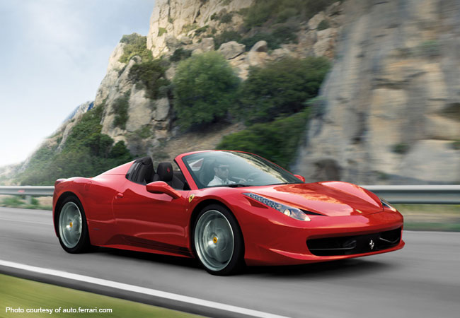 The Ferrari 458 Spider is a classic sight in Milan