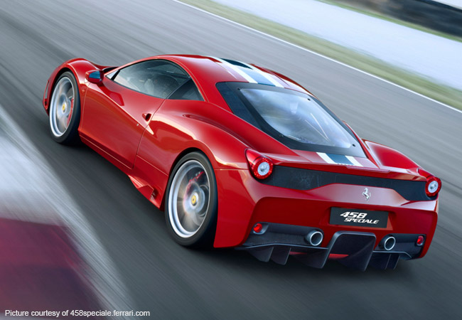 Ferrari 458 Speciale - top speed of 201mph