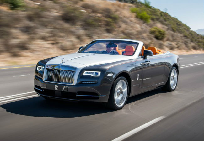 The Rolls Royce Dawn Convertible, available for a test drive