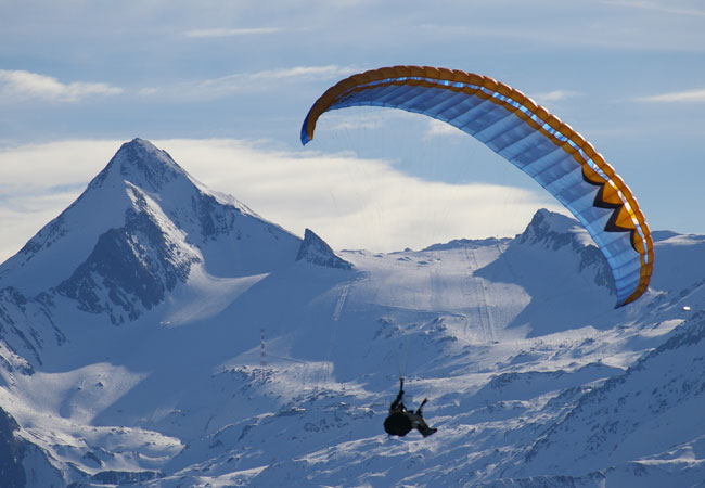 Bird's eye view of Verbier on a paraglider