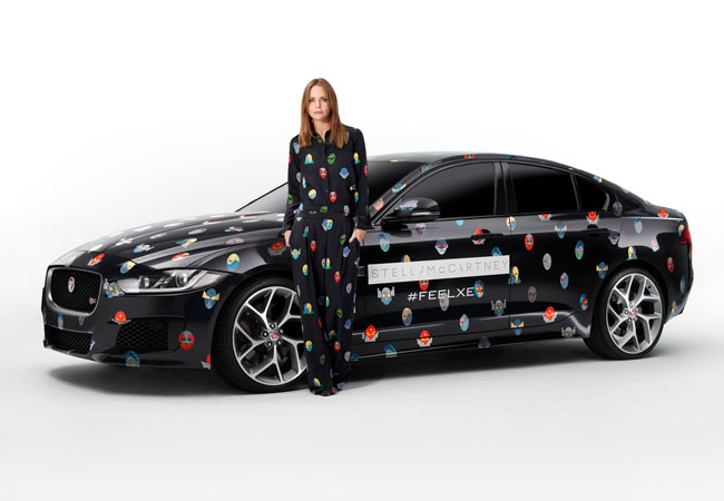 Jaguar XE, draped in Stella McCartney's new superhero print from her Spring 2015 collection.
